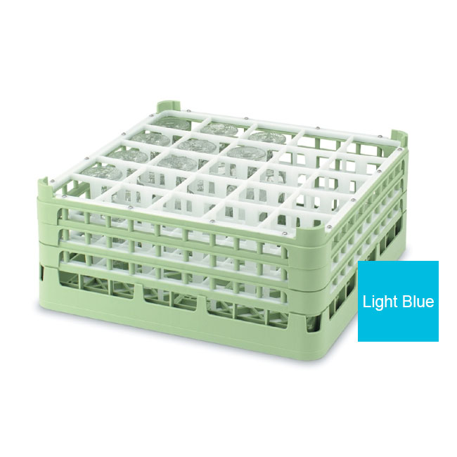 "Vollrath 52773 4 Dishwasher Rack - 25-Compartment, Medium Plus, Full-Size, 19-3/4x19-3/4"" Blue"