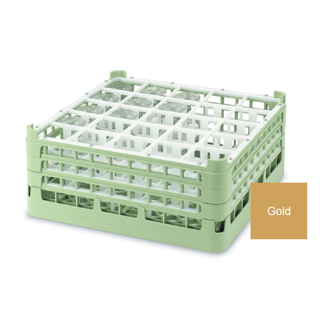 "Vollrath 52773 5 Dishwasher Rack - 25-Compartment, Medium Plus, Full-Size, 19-3/4x19-3/4"" Gold"
