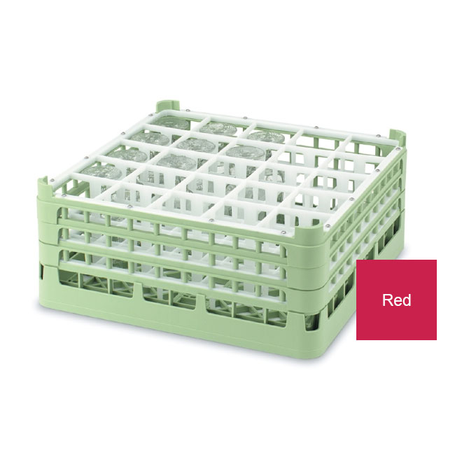 """Vollrath 52774 3 Dishwasher Rack - 25-Compartment, Tall Plus, Full-Size, 19-3/4x19-3/4"""" Red"""