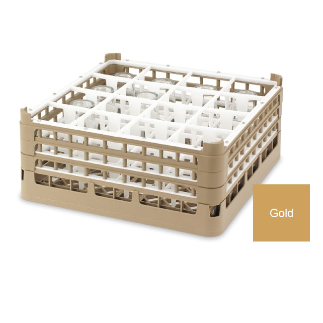 "Vollrath 52779 5 Dishwasher Rack - 36-Compartment, Medium Plus, Full-Size, 19-3/4x19-3/4"" Gold"