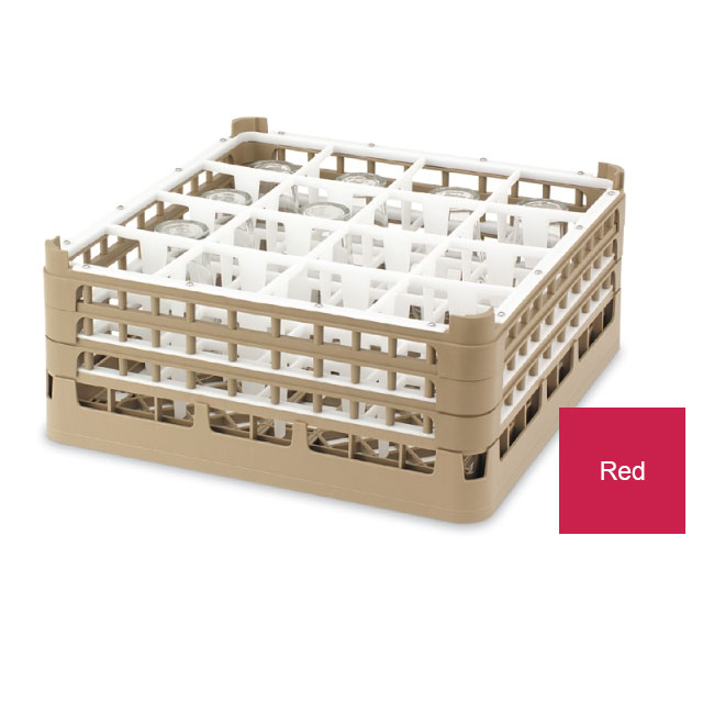 "Vollrath 52780 3 Dishwasher Rack - 36-Compartment, Tall Plus, Full-Size, 19-3/4x19-3/4"" Red"