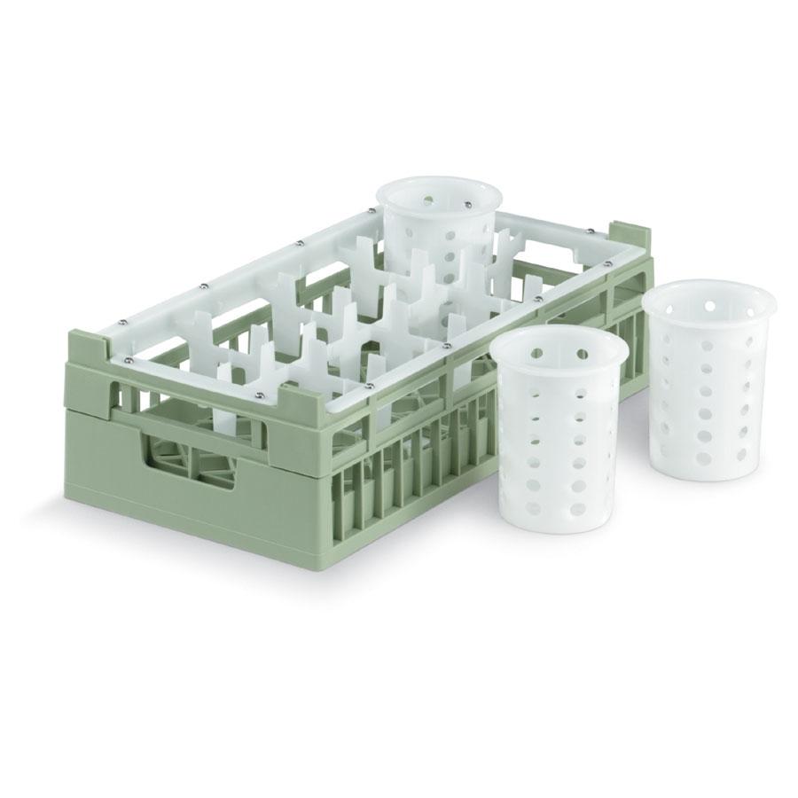 Vollrath 52808 1 Dishwasher Rack - 8-Compartment, Medium, Half-Size, Green
