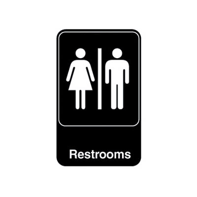 "Vollrath 5617 6x9"" Restrooms Sign - White on Black"