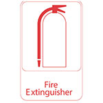 "Vollrath 5618 6x9"" Fire Extinguisher Sign - Red on White"