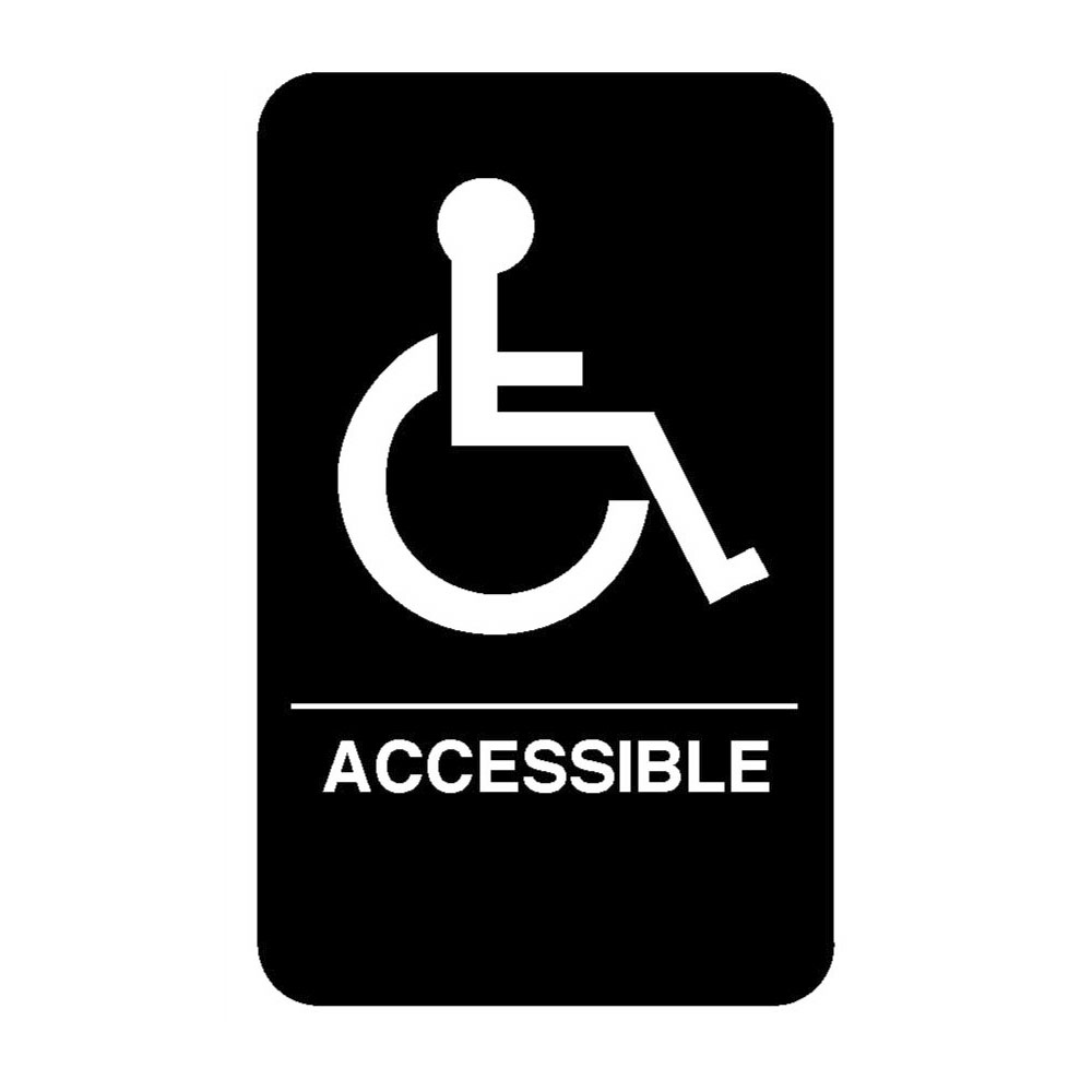 "Vollrath 5632 6x9"" Accessible Sign - Braille, White on Black"