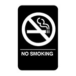 "Vollrath 5638 6x9"" No Smoking Sign - Braille, White on Black"