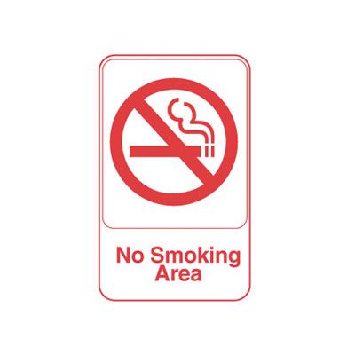 "Vollrath 5643 6x9"" No Smoking Area Sign - Red on White"