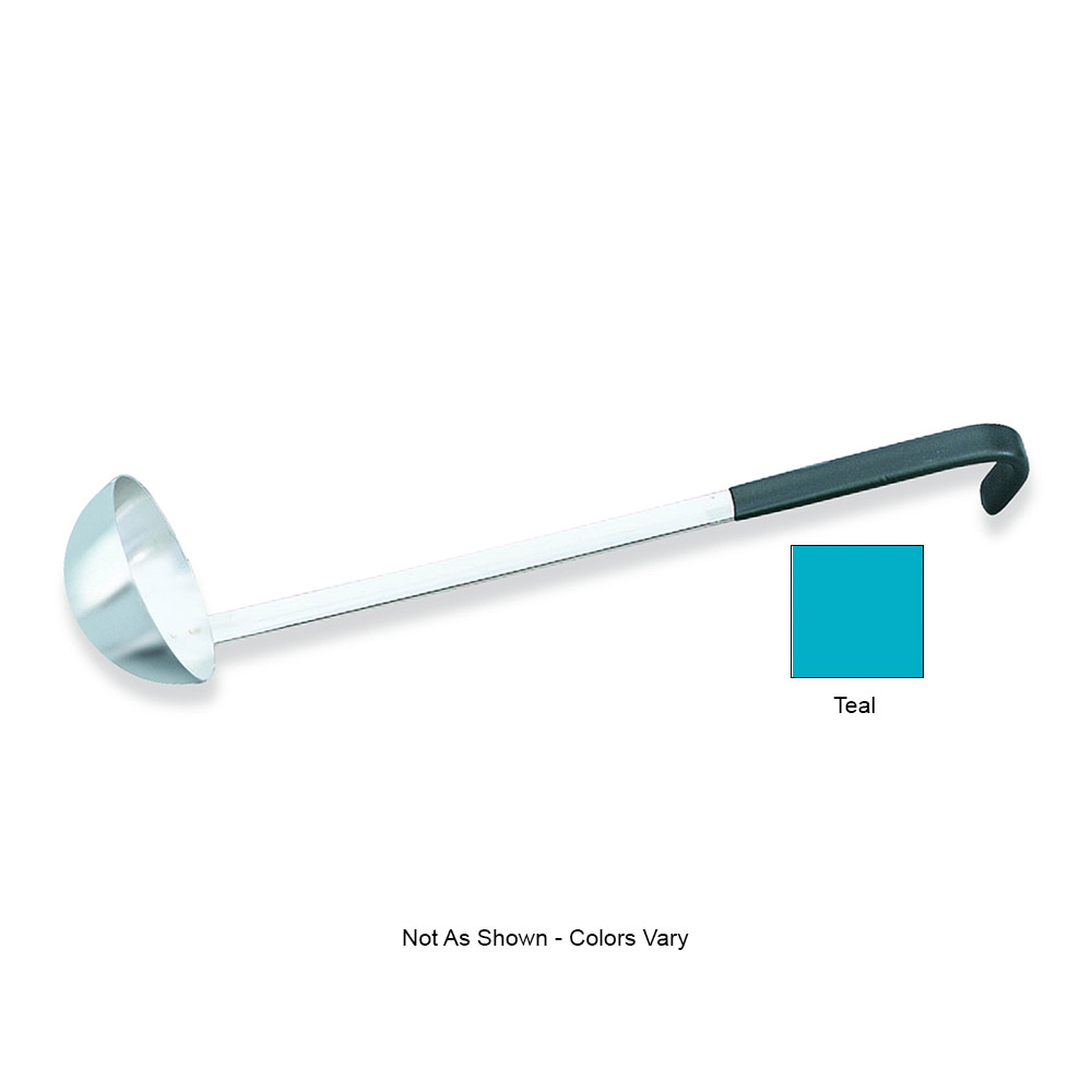 """Vollrath 58355 6-oz Ladle - 12-5/8"""" Teal Hooked Handle, Stainless"""