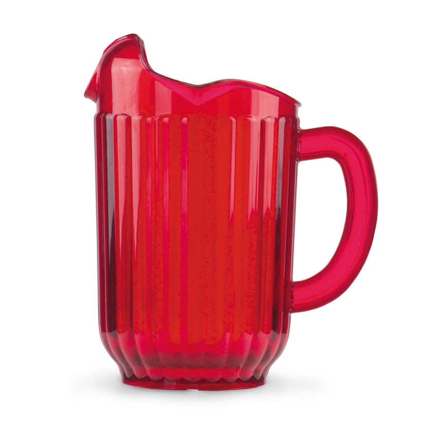 Vollrath 6010-22 60-oz Three-Lipped Pitcher - Ruby Red Poly