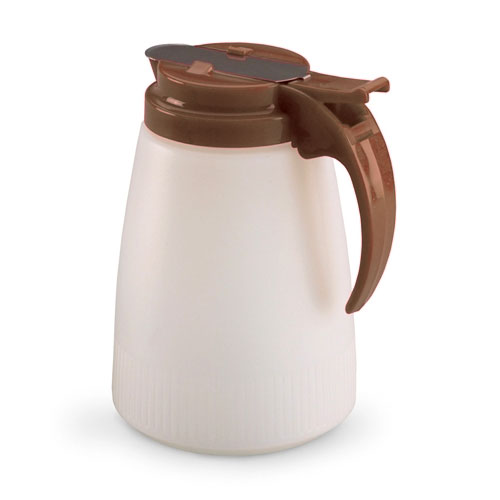 Vollrath 632-01 32-oz Syrup Server - Brown Plastic Cap, White Poly Jar