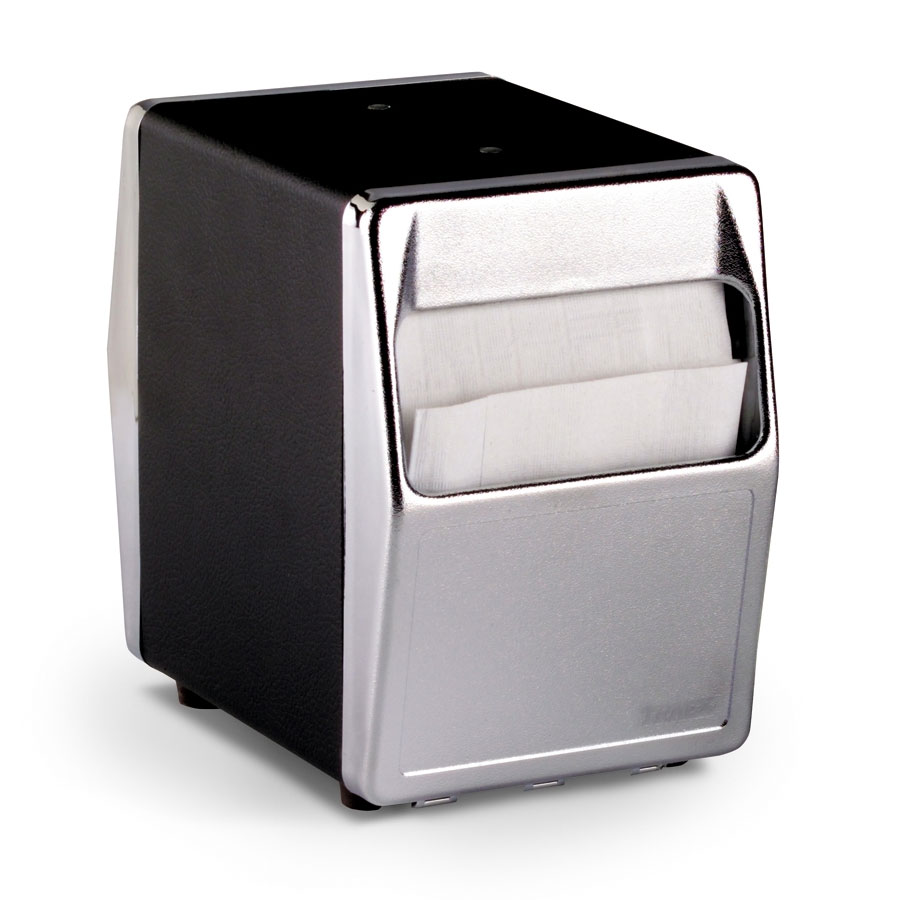 Vollrath 6509-06 Table-Type Napkin Dispenser - 2-Sided, Chrome Face, Black