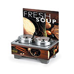 Vollrath 7203102 Cayenne Twin Well Soup Merchandiser w/ Board, Tuscan Graphics