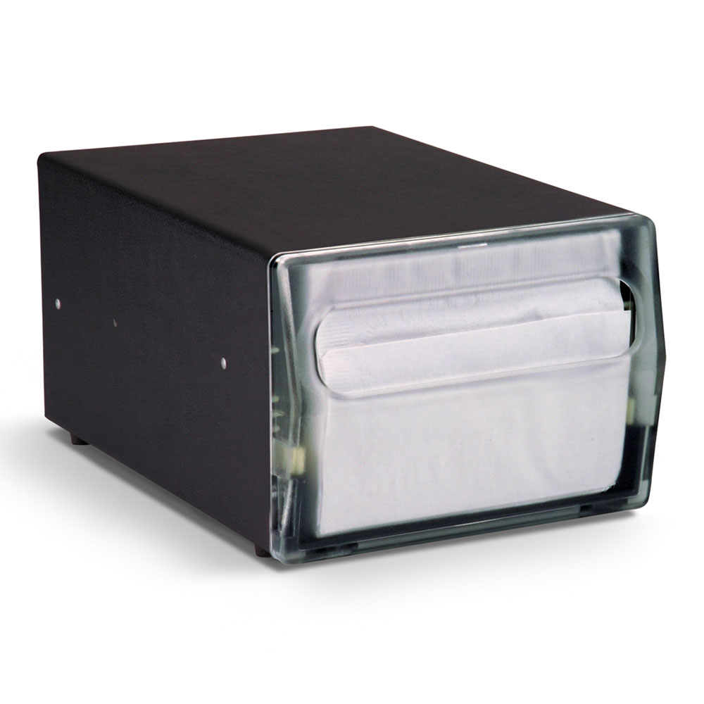 "Vollrath 7512-06 Napkin Dispenser - Counter-Type, 11-3/4x8x6"" Clear Face, Black"