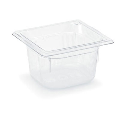 "Vollrath 8064410 1/6 Size Food Pan - 1/6 Size, 4"" Deep, Low-Temp, Clear Poly"