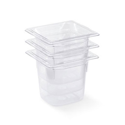 """Vollrath 8066410 1/6 Size Food Pan - 6"""" Deep, Low-Temp, Clear Poly"""