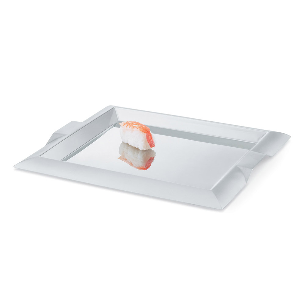 "Vollrath 82091 15-3/4"" Square Serving Tray - Handles, Stainless"