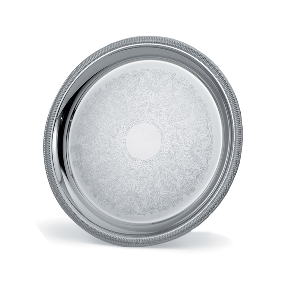 """Vollrath 82100 12-3/8"""" Round Serving Tray - Gadroon Edge, 18-ga Stainless"""