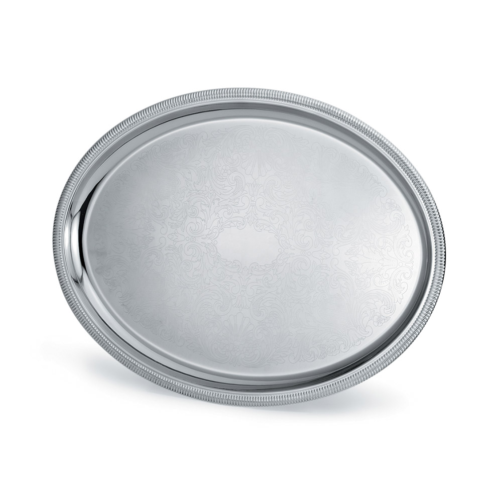 "Vollrath 82111 Oval Serving Tray - 21-3/4x16"" Gadroon Edge, 18-ga Stainless"