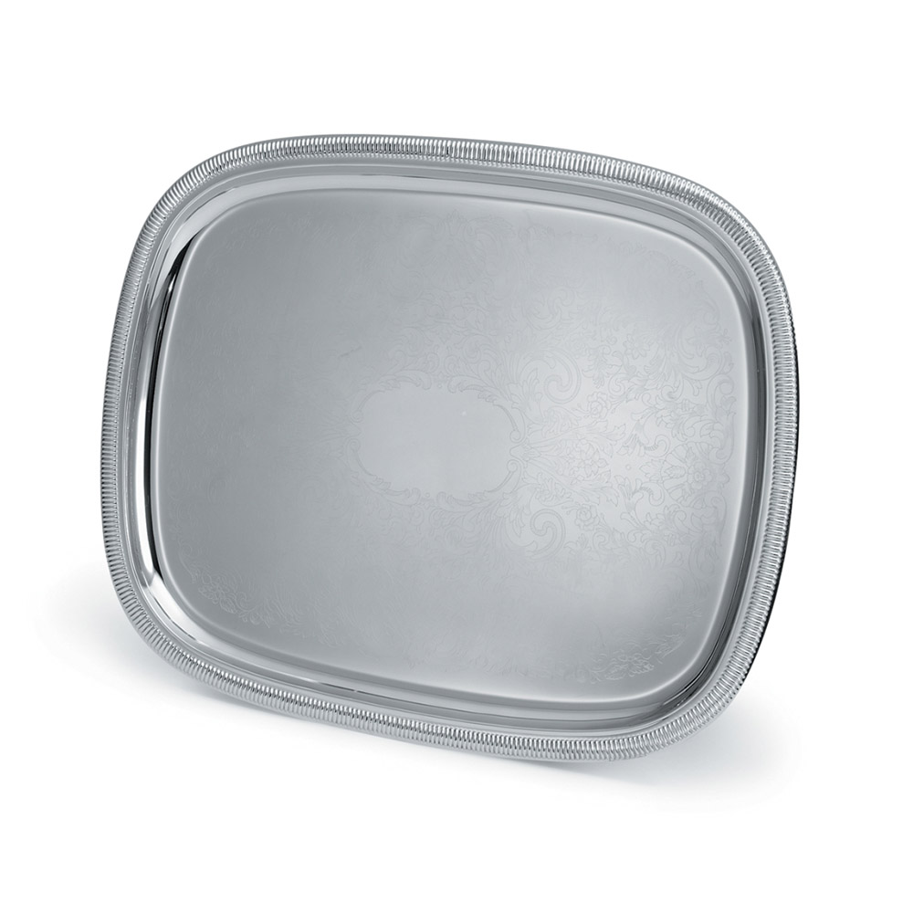 "Vollrath 82120 Oblong Serving Tray - 17-7/8x13-7/8"" Gadroon Edge, 18-ga Stainless"