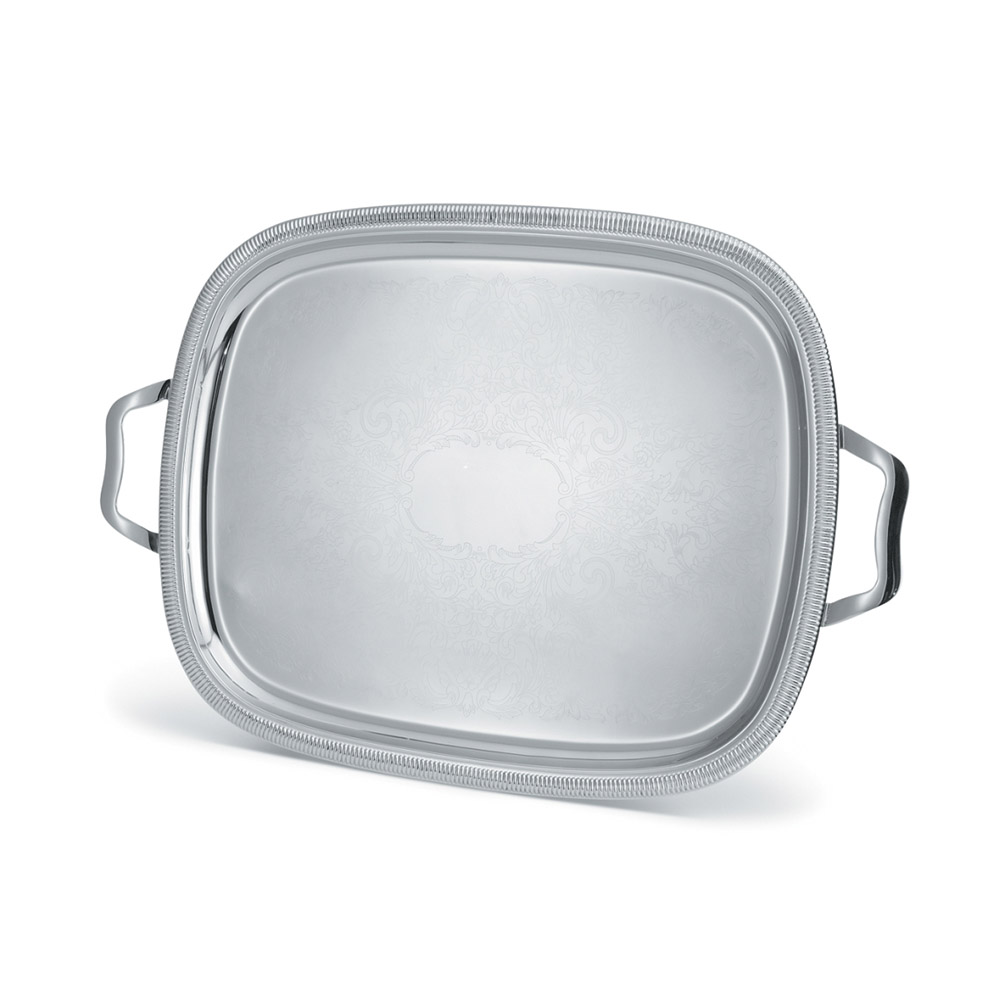 """Vollrath 82122 Oval Serving Tray - 17-7/8x13-7/8"""" Scalloped Gadroon Edge, Stainless"""