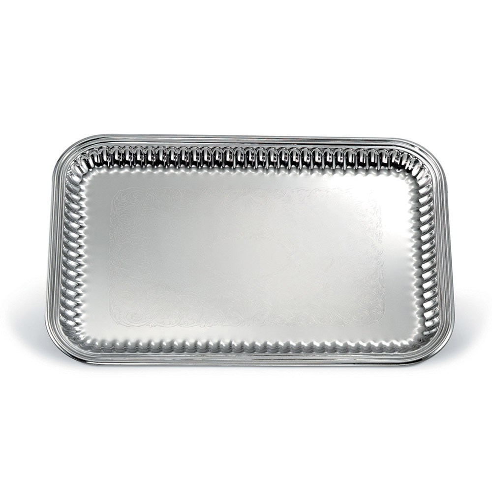 "Vollrath 82166 Rectangular Fluted Serving Tray - 12-1/2x18-1/4"" Stainless"