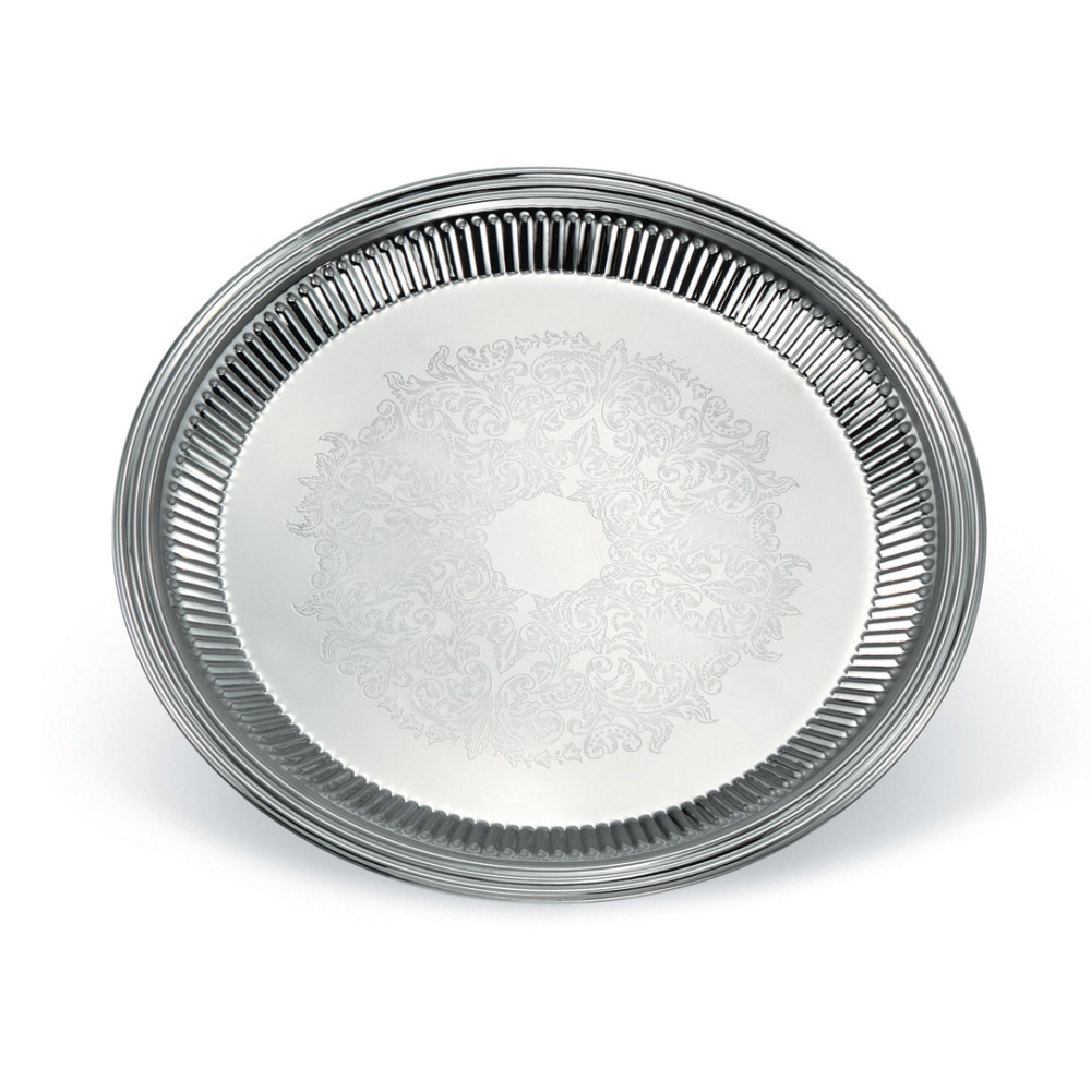 "Vollrath 82170 16"" Round Fluted Serving Tray - Stainless"