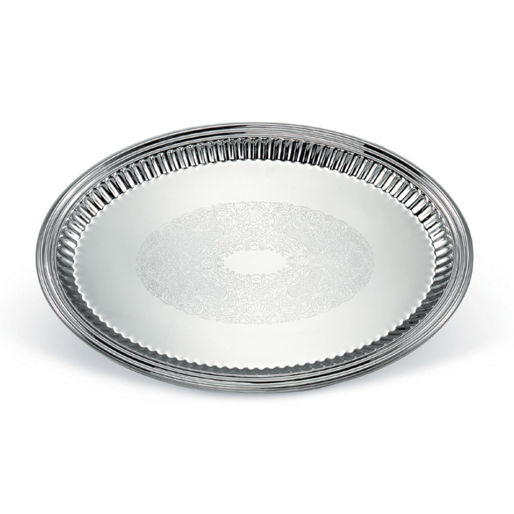 "Vollrath 82173 Oval Fluted Serving Tray - 15-1/2x21-1/8"" Stainless"
