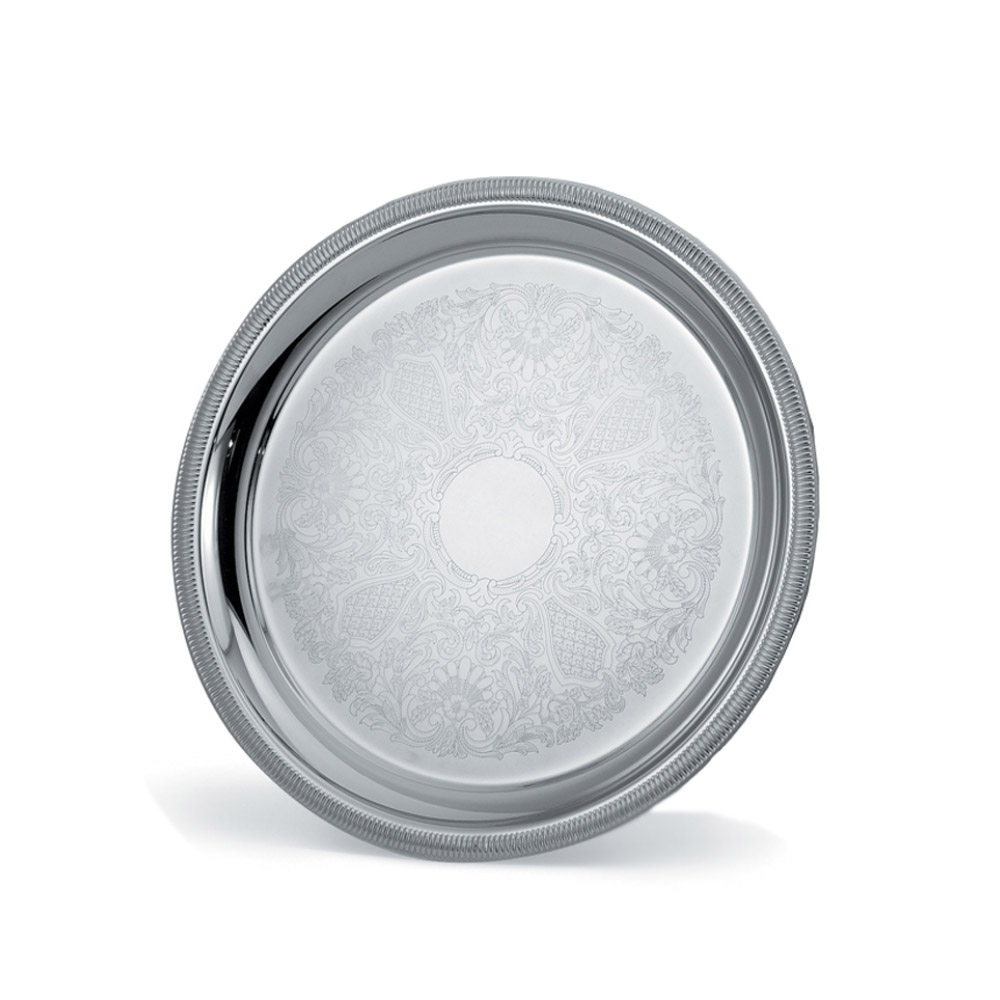 """Vollrath 82367 15-1/4"""" Round Serving Tray - Gadroon Edge, Silverplated"""