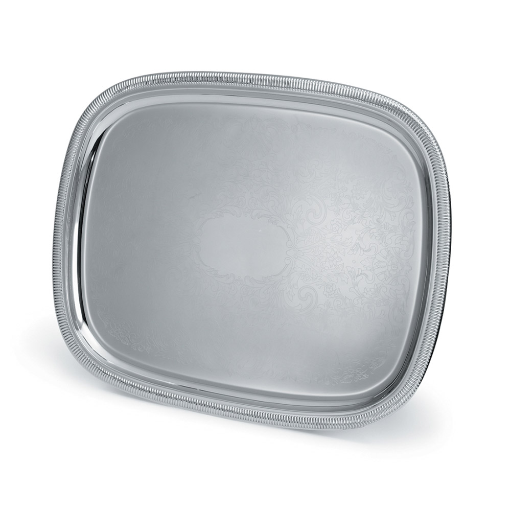 "Vollrath 82371 Oblong Serving Tray - 23-1/2x18-1/2"" Gadroon Edge, Silverplated"