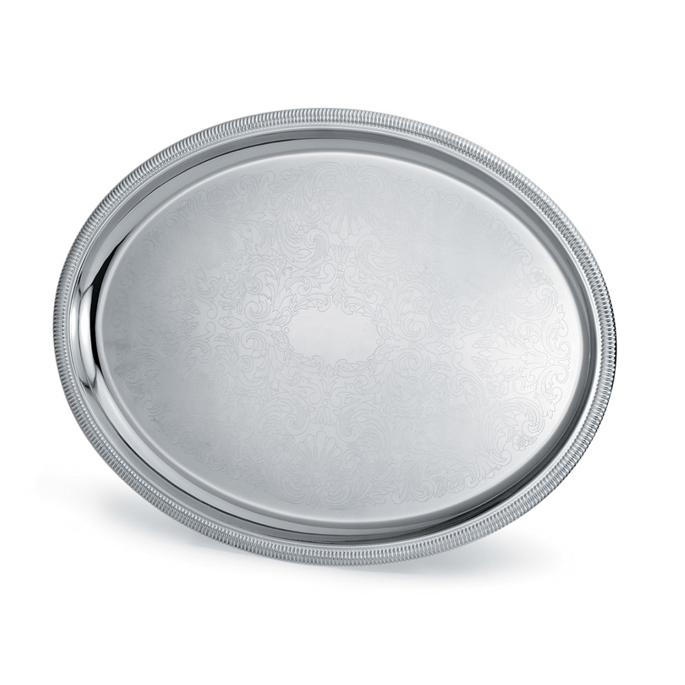 "Vollrath 82373 Oval Serving Tray - 23-1/2x18-1/2"" Scalloped Gadroon Edge, Silverplated"