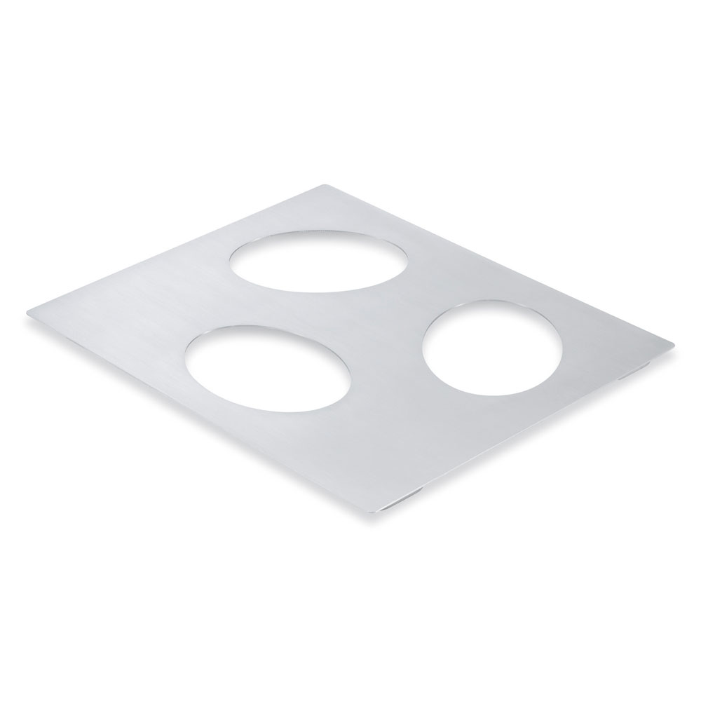 Vollrath 8250114 Miramar Double-Well Template - (3) Small Oval Pans, Stainless