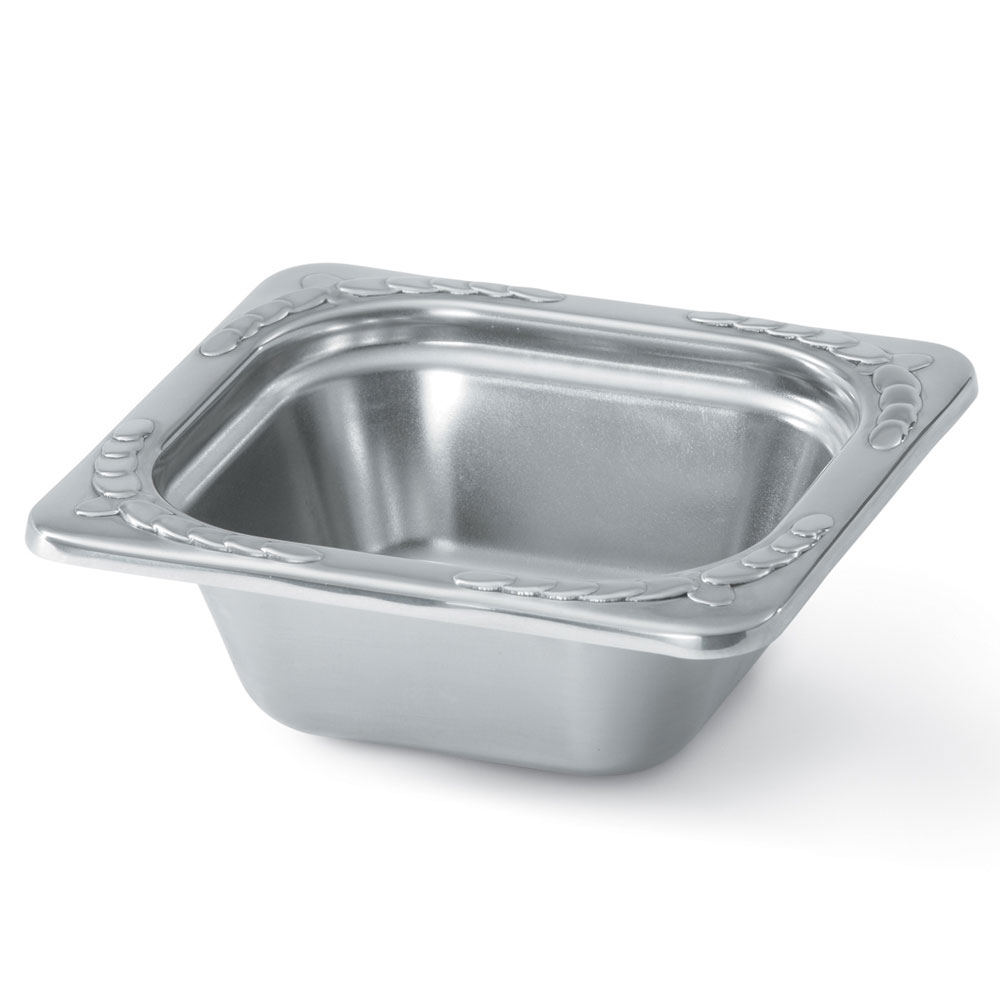 "Vollrath 8262220 Miramar 1/6 Size Decorative Foodpan - 2-1/2"" Deep, Mirror-Finish Stainless"