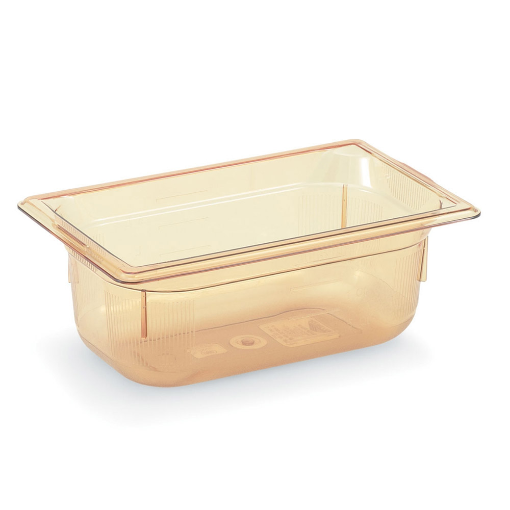 "Vollrath 9042410 1/4 Size Hot Food Pan - 2-1/2"" Deep, Amber"