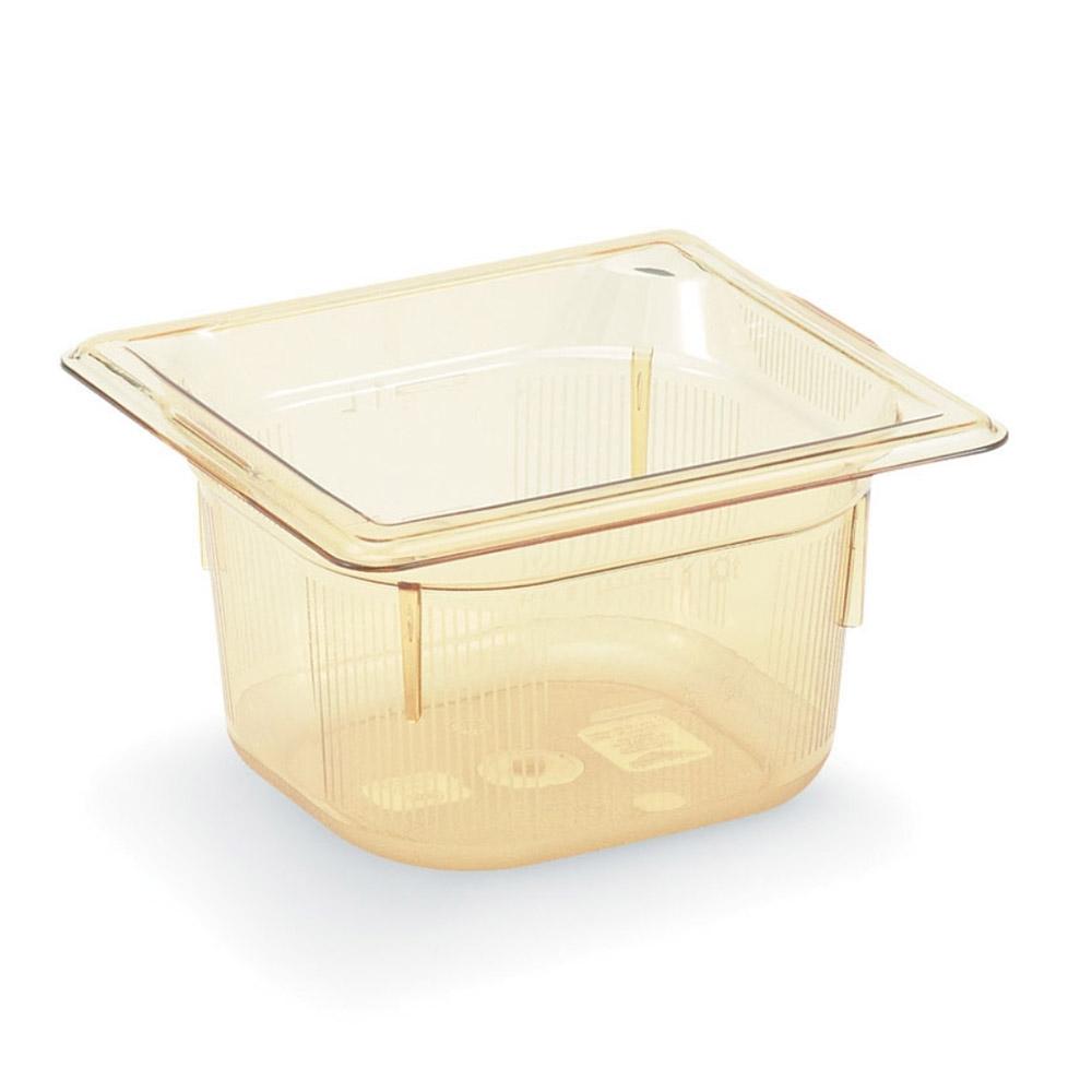 "Vollrath 9062410 1/6 Size Hot Food Pan - 2-1/2"" Deep, Amber"