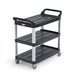 Vollrath 97006 3-Level Polymer Utility Cart w/ 300-lb Capacity, Raised Ledges