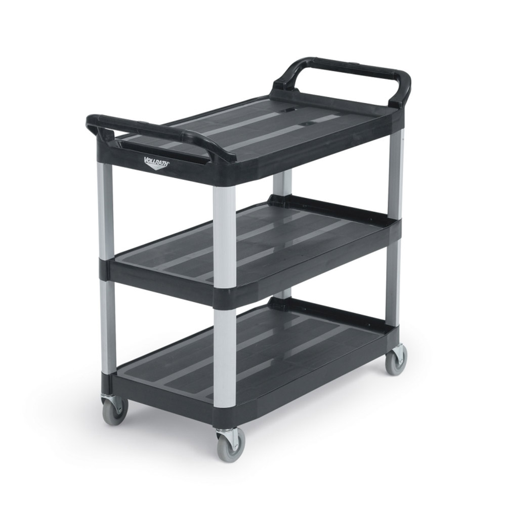 Vollrath 97007 3-Level Polymer Utility Cart w/ 300-lb Capacity, Raised Ledges