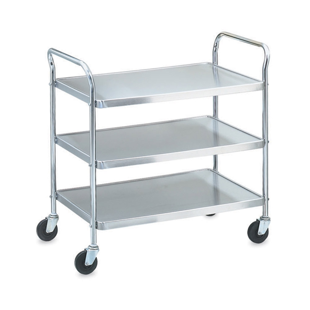 Vollrath 97106 3-Level Stainless Utility Cart w/ 500-lb Capacity, Raised Ledges