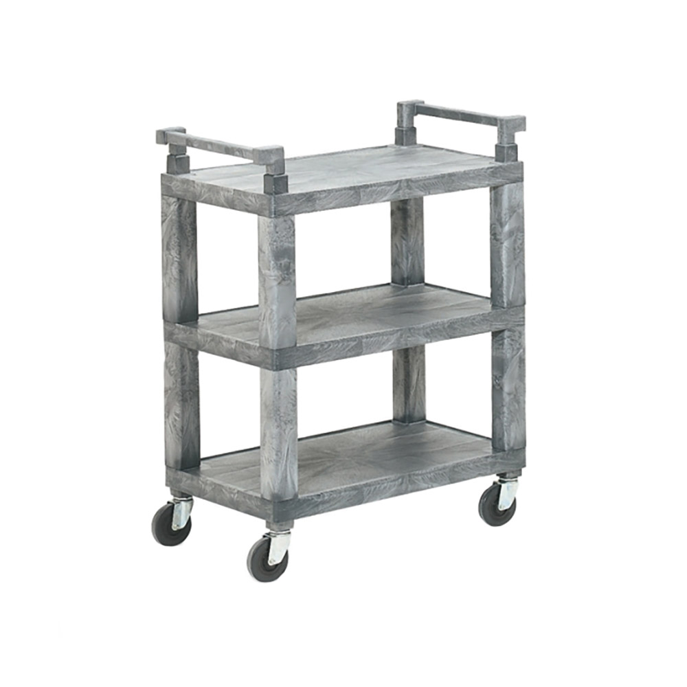 Vollrath 97111 3-Shelf Utility Cart - 200-lb Capacity, Closed End, Gray Plastic