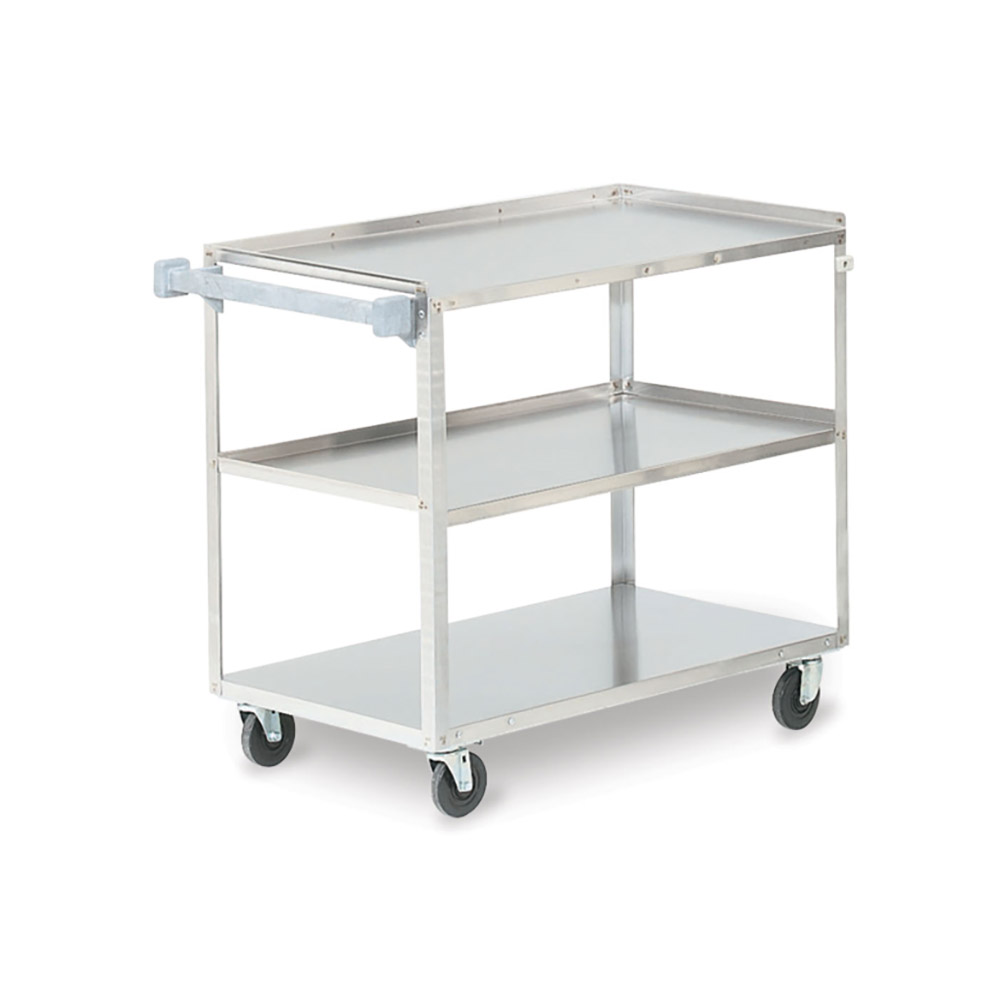 Vollrath 97140 3-Level Stainless Utility Cart w/ 500-lb Capacity, Raised Ledges