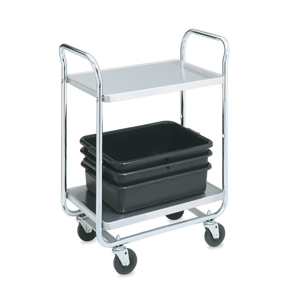 Vollrath 97160 2-Level Chrome Plated Utility Cart w/ 400-lb Capacity, Raised Ledges