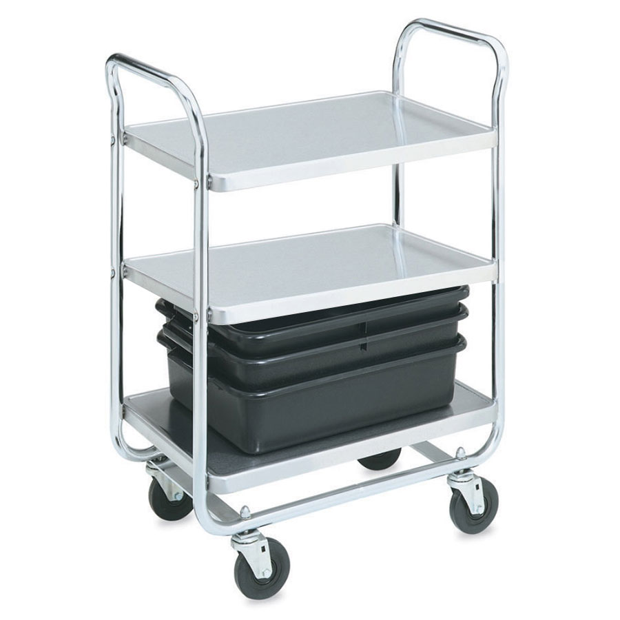 Vollrath 97167 2-Level Chrome Plated Utility Cart w/ 500-lb Capacity, Raised Ledges