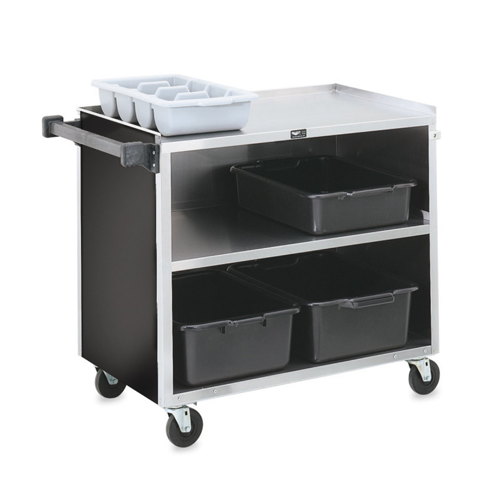 "Vollrath 97182 39.5""L Polymer Bus Cart w/ (3) Levels, Shelves, Black"