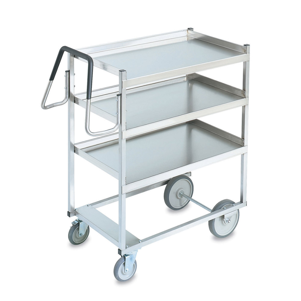 Vollrath 97201 3-Level Stainless Utility Cart w/ 650-lb Capacity, Raised Ledges
