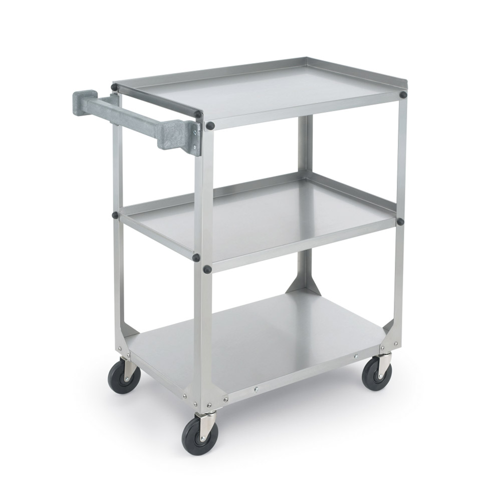 Vollrath 97320 3-Level Stainless Utility Cart w/ 300-lb Capacity, Raised Ledges