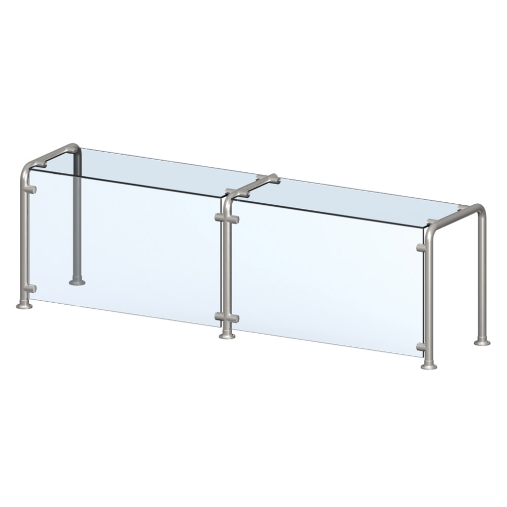 Vollrath 98627 Breath Guard with Top Shelf for 5-Well Cafeteria Unit - Glass/Stainless