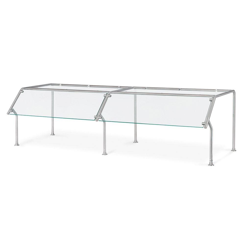 Vollrath 98651 Breath Guard with Top Shelf for 3-Well Single Sided Buffet - Glass/Stainless