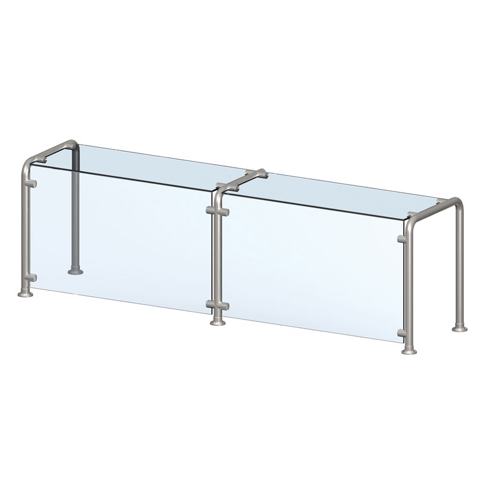 Vollrath CB98628 Breath Guard with Top Shelf for 6-Well Single Sided Cafeteria - Glass/Stainless