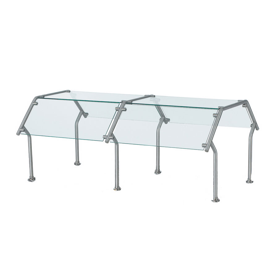 Vollrath CB98638 Breath Guard for 4-Well Double-Sided Buffet - Glass/Stainless