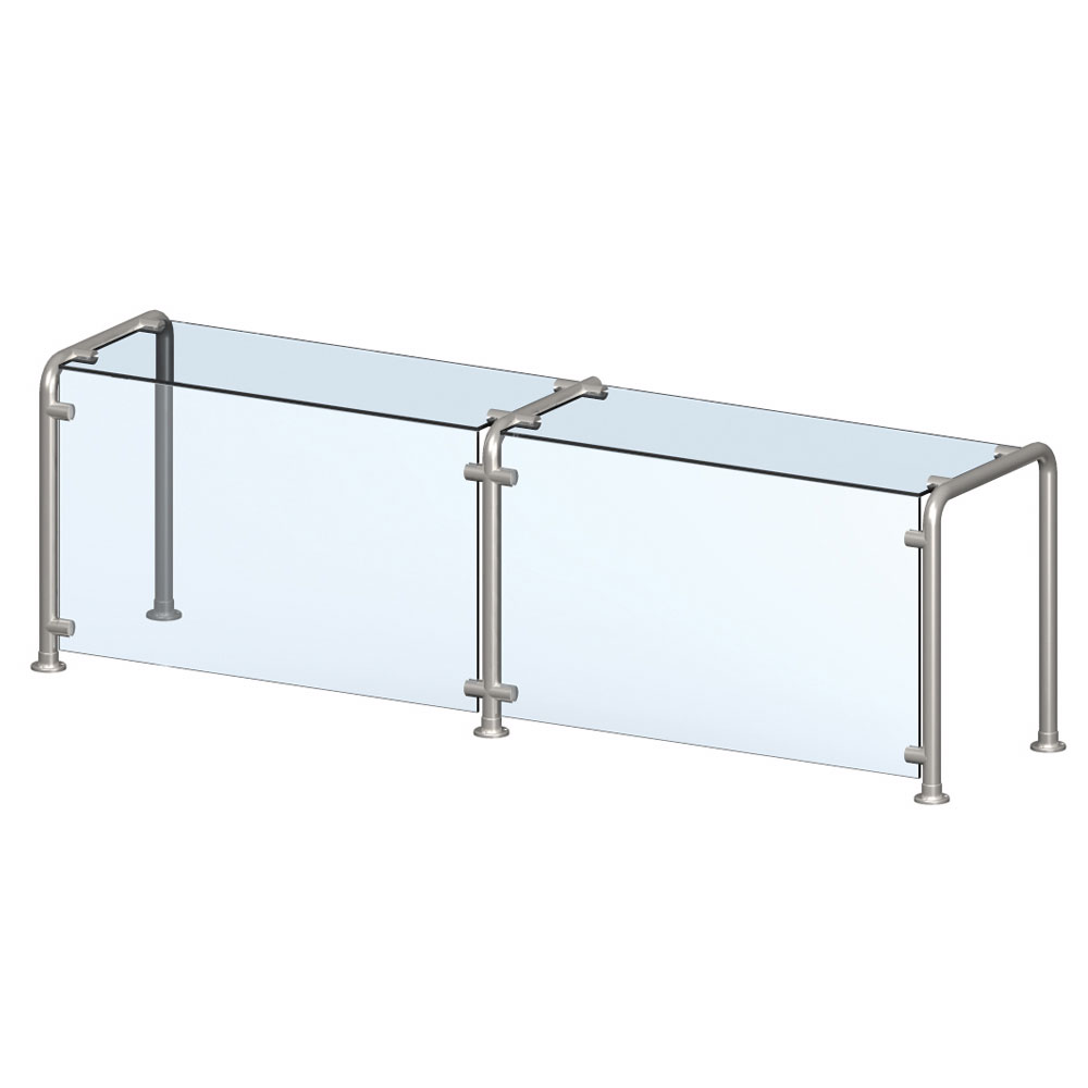 Vollrath CB98650 Breath Guard with Top Shelf for 3-Well Single Sided Cafeteria - Glass/Stainless