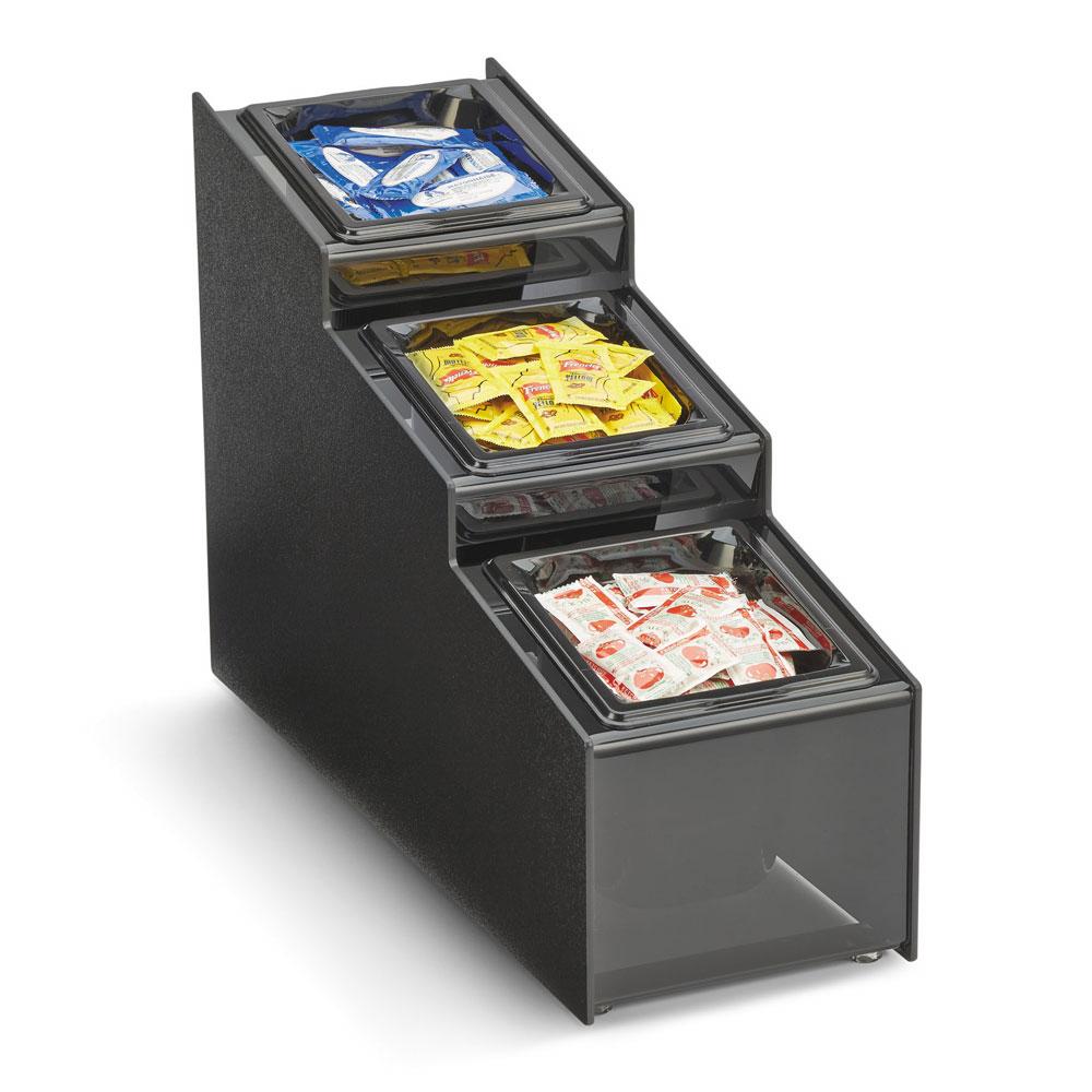 "Vollrath CTCPAN3-6 3-Compartment Condiment Organizer - 7.68"" x 21"" x 14.63"", Plastic, Black"